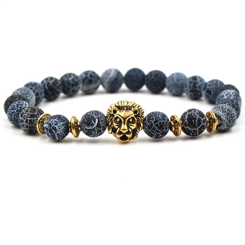 Fashion Leopard Lion Head Bracelet Owl Buddha Beads Bracelets for Men Charm Natural Stone Elastic Bracelet Men Yoga Jewelry