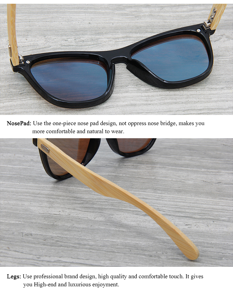 CONCHEN Mirror Lenses Bamboo Wooden Sunglasses 17