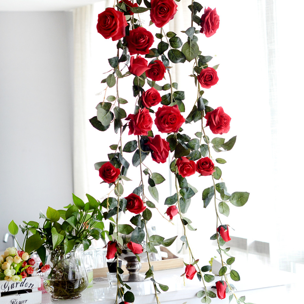 180cm Artificial Rose Flower Vine Wedding Decorative Real Touch Silk