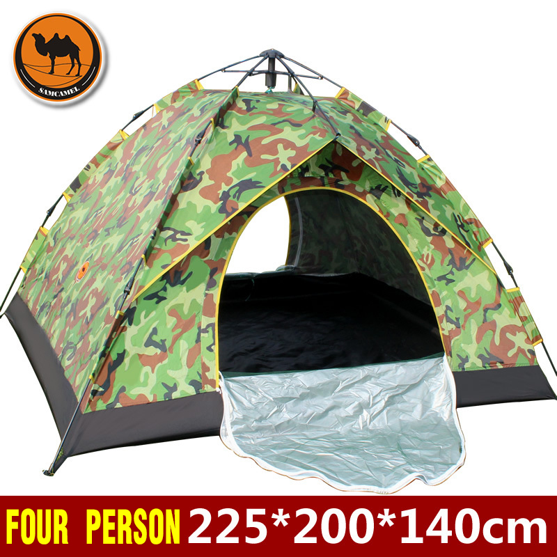 3 4persons single layer automatic tent outdoor UV polyester waterproof fabric silver coated shell family travel
