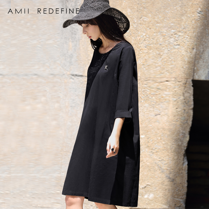 AMII REDEFINE Dress Summer Women 2018 Causal Solid Brooch O-neck Wrist Sleeve Cotton Loose Plus Size Knee-length Female Dresses