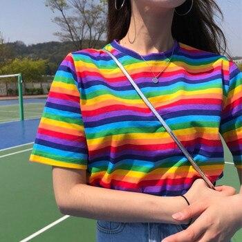 f227f9766 Ropa de verano de mujer camiseta Top 2019 estilo coreano camisetas Ulzzang Harajuku  Arco Iris rayas Camiseta de manga corta para mujer Camisetas