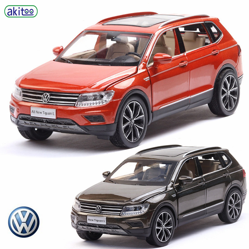 Akitoo Tiguan L Car Model Alloy Simulation Model Off-road Vehicle Suv Sound And Light Pull Back Car 6 Open The Public Gift #2402