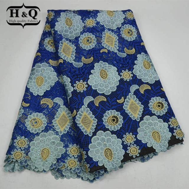 H&Q Africa France water soluble lace fabric 5 yards/pcs high quality embroider with stone Nigerian style for women dress,clothes