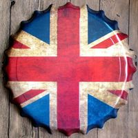 40cm Round UK Flag Relief Bottle Cap Vintage Tin Sign Bar Pub Home Wall Decor Retro