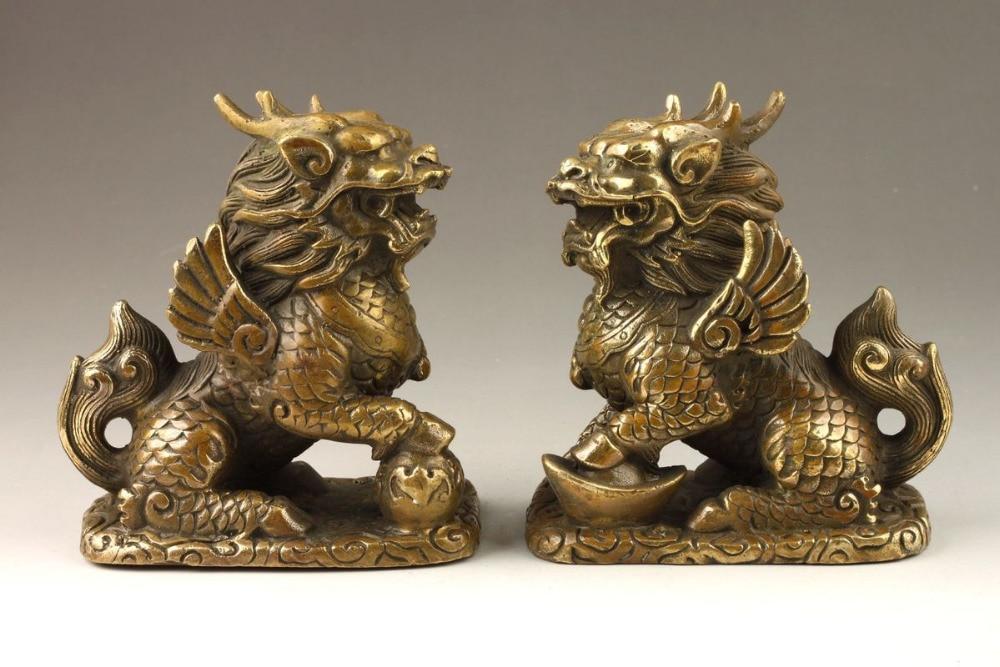 Chinese Folk Culture Handmade Brass Bronze Statue Kirin SculptureChinese Folk Culture Handmade Brass Bronze Statue Kirin Sculpture