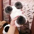 Nueva calidad de lujo real de piel de conejo bola cajas del teléfono para el iphone 7 7 plus 6 s plus 3d panda conejo oso oído invierno cálido estilo