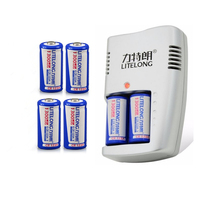 6pcs 1300mAh 3v CR123A rechargeable LiFePO4 battery lithium battery with CR123A charger