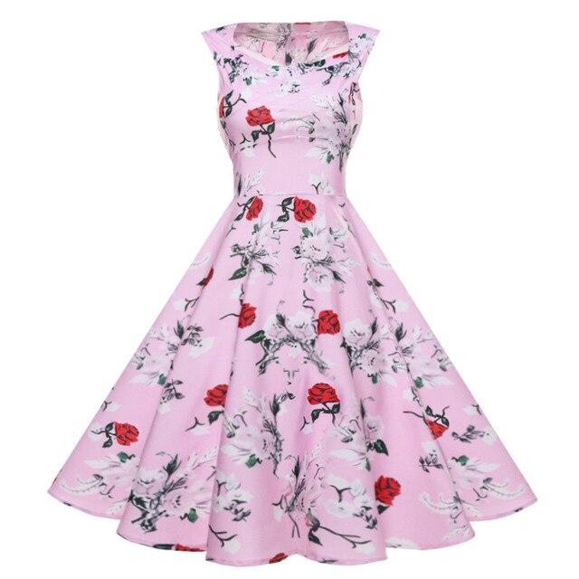 07aadcfbf04d0 US $16.86 18% OFF|Women Summer Dress 2017 plus size clothing Audrey hepburn  Floral robe Retro Swing Casual 50s Vintage Rockabilly Dresses Vestidos-in  ...