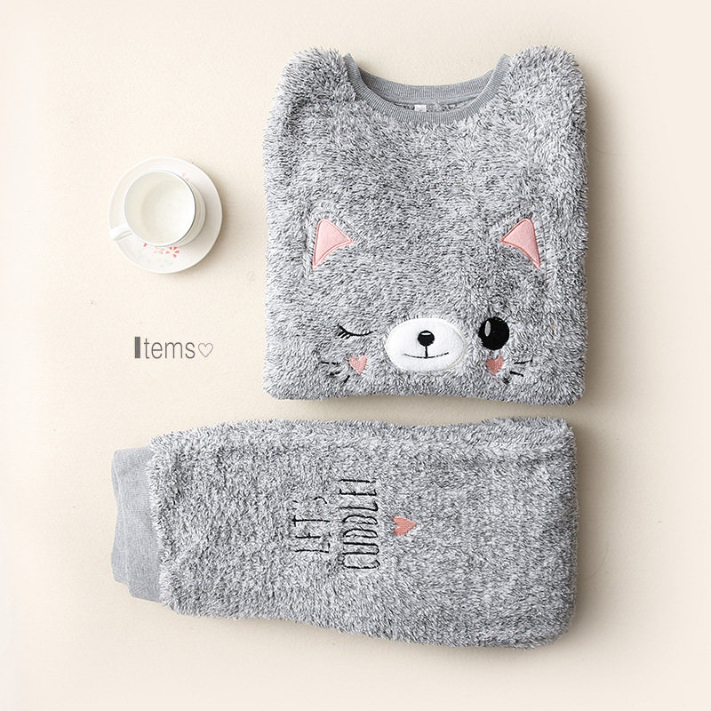 Plush Femme   Pajamas     Set   Cute Cat Embroidery Warm Sexy Women Pyjamas Long Sleeves Loose Sizes Sleepwear Home 2019 Fashion Pjs