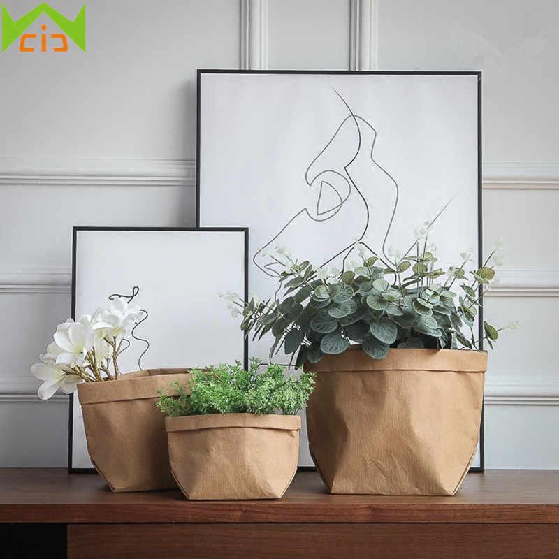 WCIC Ecológico Vaso De Flores De Papel Kraft Cobrir Domésticos Suculentas Vaso de Flores Plantador Da Flor Do Jardim Vegetal Crescer Sacos de Jardim