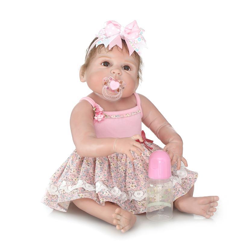 57cm Full Silicone Body Reborn Baby Girl Doll Bebe Reborn Babies Dolls Bath Toy Alive Doll Brinquedos Birthday Gift juguetes цена 2017