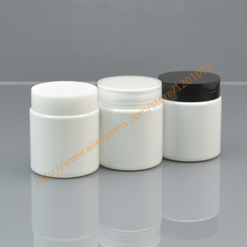 50 grams white PET Jar 50ml cream Jar with white black clear PP cap Cosmetic Packaging