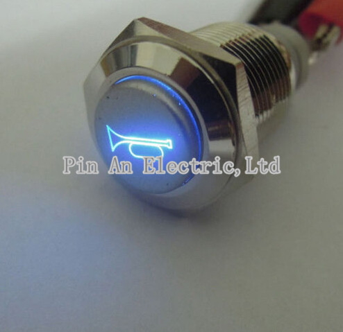 все цены на  19mm 12V Blue/Red LED Car Auto Momentary Push Button Metal Switch Car Boat Speaker Bell Horn XY01  онлайн