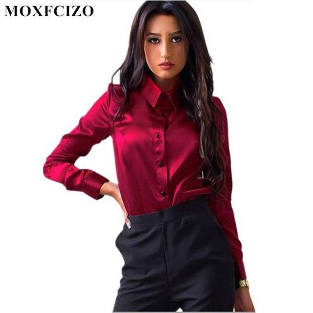 0922dd5712f0 Blusa de mujer Blusa elegante vino rojo verde satén camisa cuello vuelto  manga larga Mujer Formal Oficina OL Blusa Mujer Tops