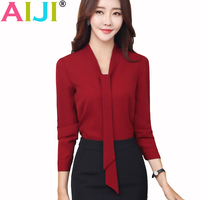 Spring Summer Fashion V Neck Elegant Women Chiffon Blouses Work Office Lady Long Sleeve Shirt OL