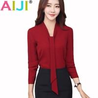 Spring Summer Fashion V Neck Elegant Women Chiffon Blouses Work Office Lady Long Sleeve Shirt OL