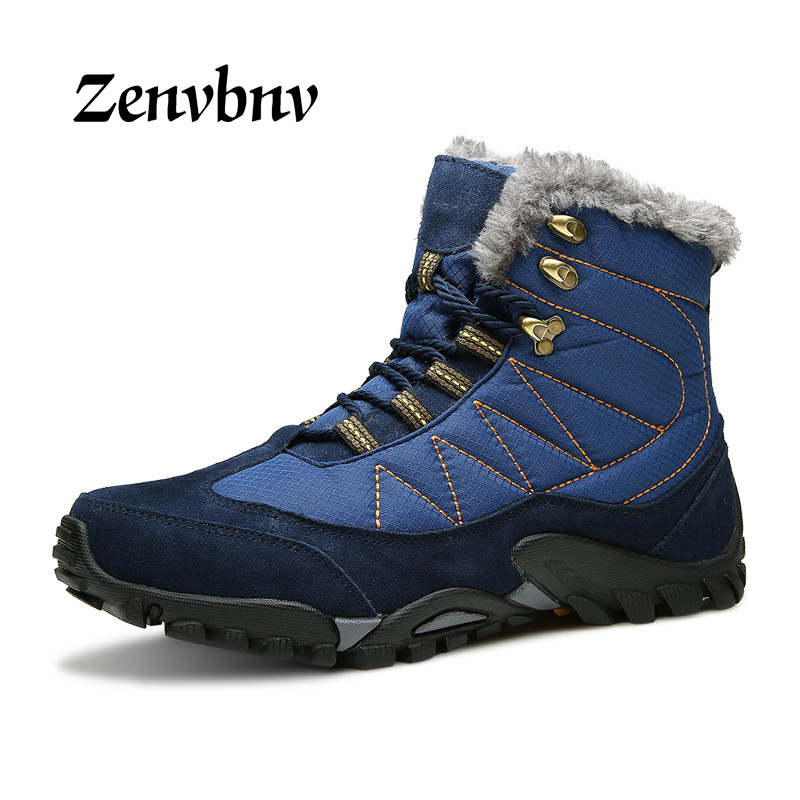 цены ZENVBNV Winter leather Men Boots Work casual Boots Men keep warm Shoes Male Rubber Snow Cow Suede Leather Ankle boots for men