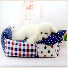 Warm PP Cotton Padded Soft Fleece Pet Cat Litter Nest Square House Kennel Small Medium Dog Puppy Teddy Stripe Sofa Bed Cushion