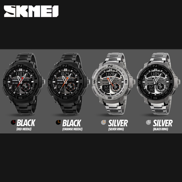 SKMEI Dual Display Outdoor Sports Watches Mens Fashion Waterproof Military Wristwatches Fitness Electronic Watch Relogio Digital