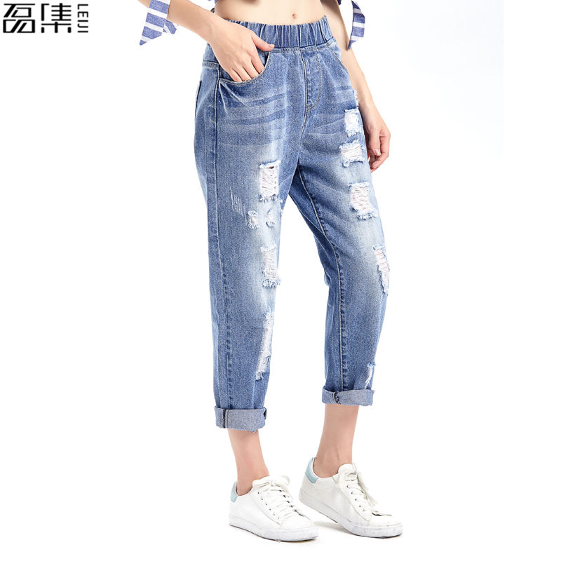 2017 Spring  Autumn Ripped  Jeans for women  Ankle-Length harem denim pant cotton plus size Trousers for woman 5XL summer women spring trecking quick dry hiking shirt woman fishing pant sportwear camping trousers suit plus size shirt pant s21