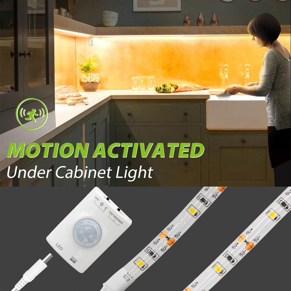 Waterproof Motion Sensor Lamp Led Strip Under Bed Light Cabinet 1m Night Closet Wardrobe Stairs Door Kitchen In Lights From