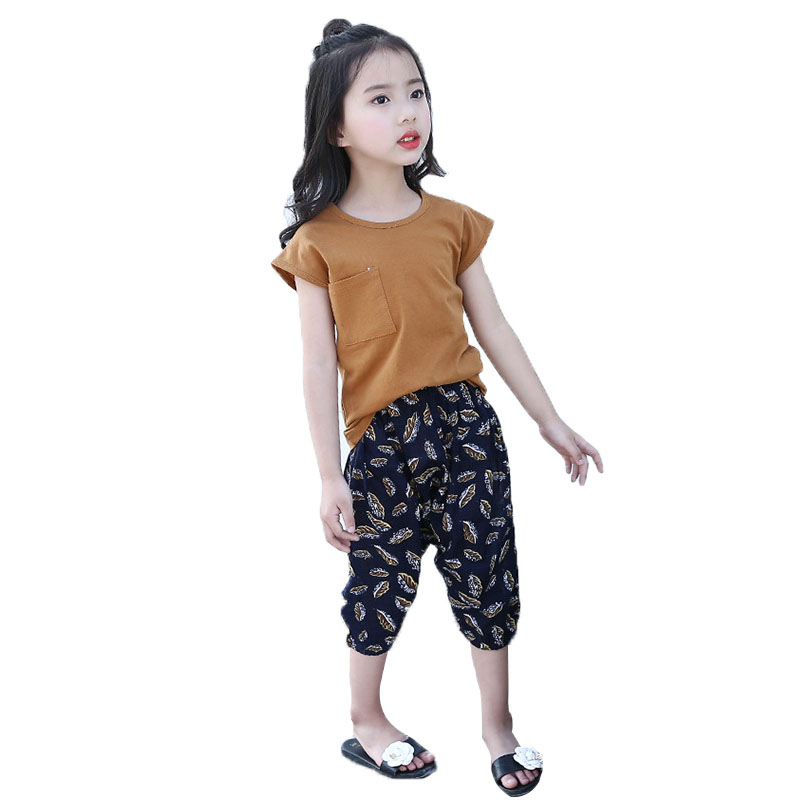 Children Outfits for Girls Solid Tops & Print Pants Suit Kids Clothes Sets 4 8 9 10 12 Years Casual Girls Summer Clothing Sets