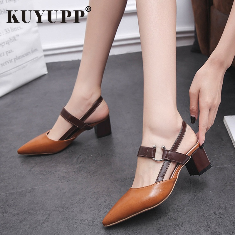 KUYUPP Casual Pointed Toe Women Sanadals Summer Buckle Ladies High Heels Comfortable Female Heel Pumps Women's Shoes DT1486 memunia flock pointed toe ladies summer high heels shoes fashion buckle color mixing women pumps elegant lady prom shoes
