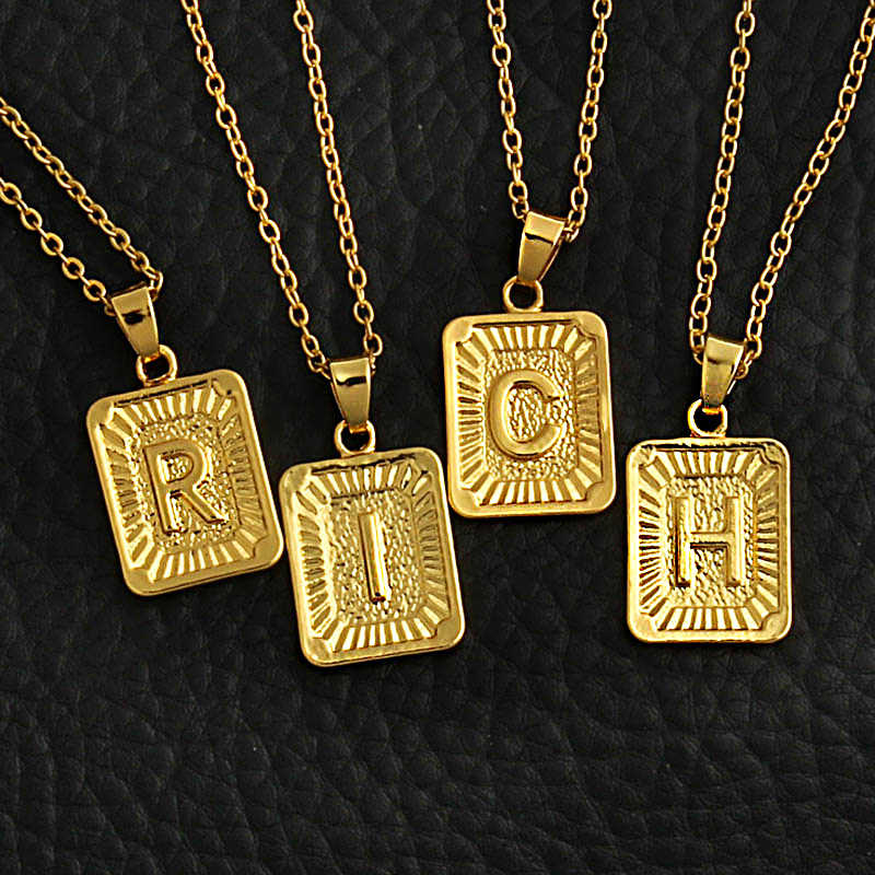 Tiny Gold Initial A-Z Letter Necklaces Unisex Charm Luster Gold Medal Capital Letter Necklace Pendant For Women Men Jewelry Gift