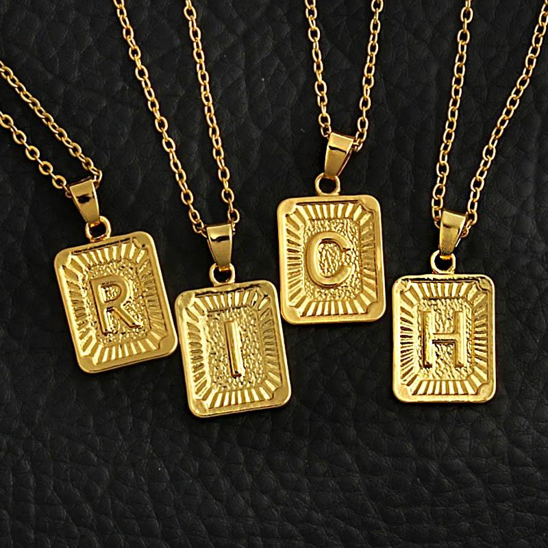 זעיר זהב ראשוני A-Z מכתב שרשראות יוניסקס קסם ברק זהב מדליית הון מכתב שרשרת תליון לנשים גברים תכשיטי מתנה