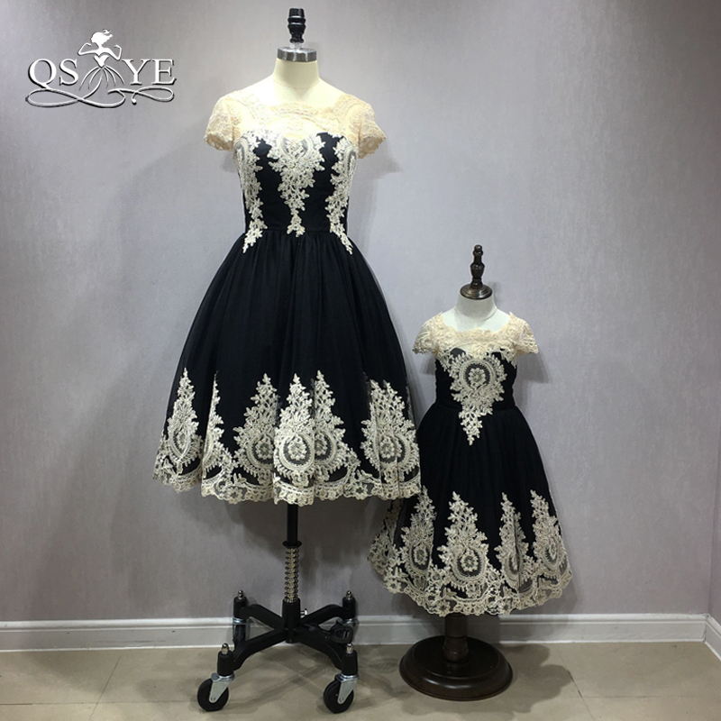QSYYE 2018   Flower     Girl     Dresses   Mother and Daughter   Dress   Vintage Ball Gown Champagne Lace Tulle Formal   Dress   Party Gown