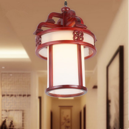 Chinese style handmade wood art Pendant Lights White acryl lampshade E27 LED lamp for corridor&stairs&cafe&pavilion$cafe MF034