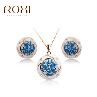Luxury Rose Gold Color Blue White Porcelain African Beads Necklace Earrings Set For Women Fashion Crystal