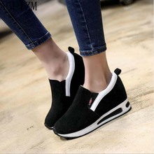 AGUTZM 2019 Spring women flat platform shoes ladies suede leather slip-on casual moccasins creepers W19