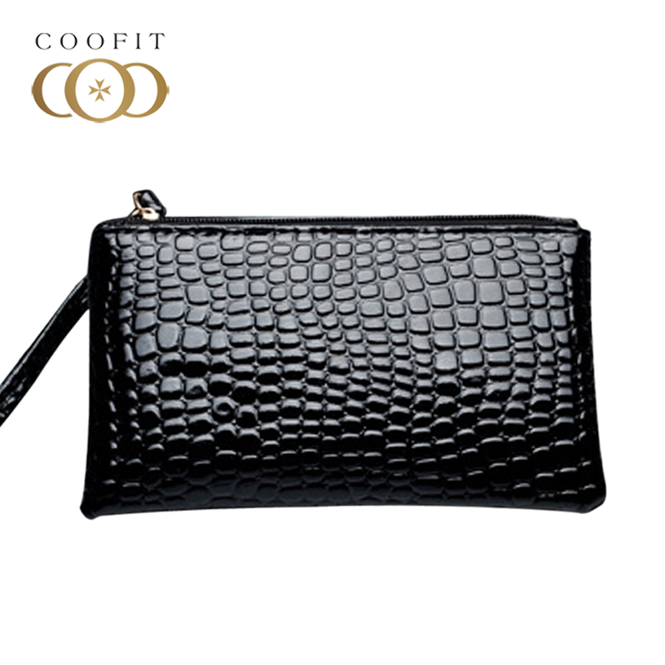 Coofit Women Lady Clutch Wallet Crocodile Pattern PU Leather Fashionable Large Capacity Purse With Wrist Strap For Daily Use