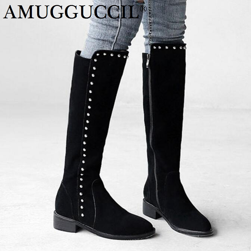 2018 New Cow Suede Plus Big Size 34-42 Black Zip Rivets Fashion Sexy Warm Knee High Autumn Winter Lady Female Womens Boots X1683