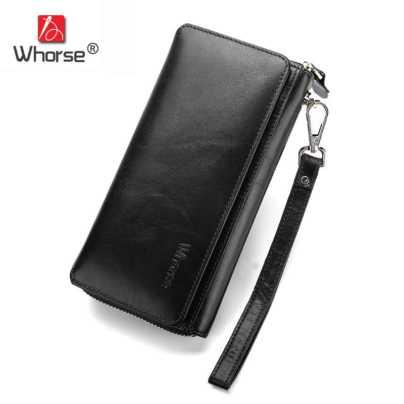 [WHORSE] Famous Brand Men Wallets Long Genuine Leather Vintage Purse Clutch Hand Bag Zipper Business Wallet Three Fold W93760 2016 famous brand clutch wallet natural cowhide men wallets genuine leather bag classic handbags mens clutch bags big hand bag
