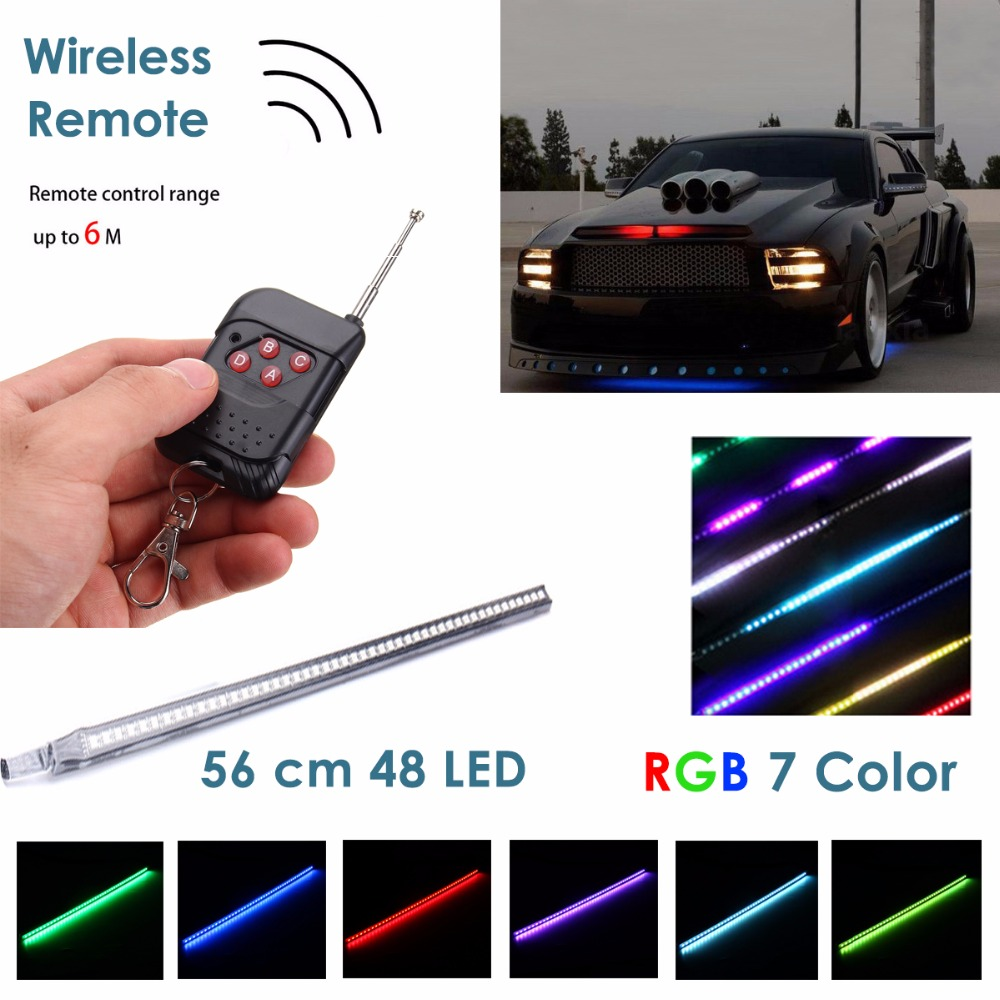7-Color RGB LED Knight Rider Scanner Light Bar Scanner Strip Kit with Wireless Remote Control