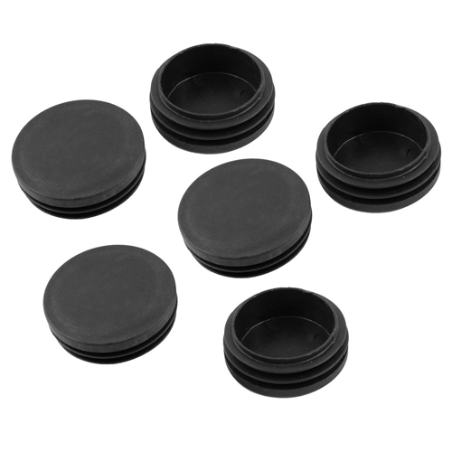 Круглые крышки для труб, диаметр 50 мм, черный пластик, 6 шт.