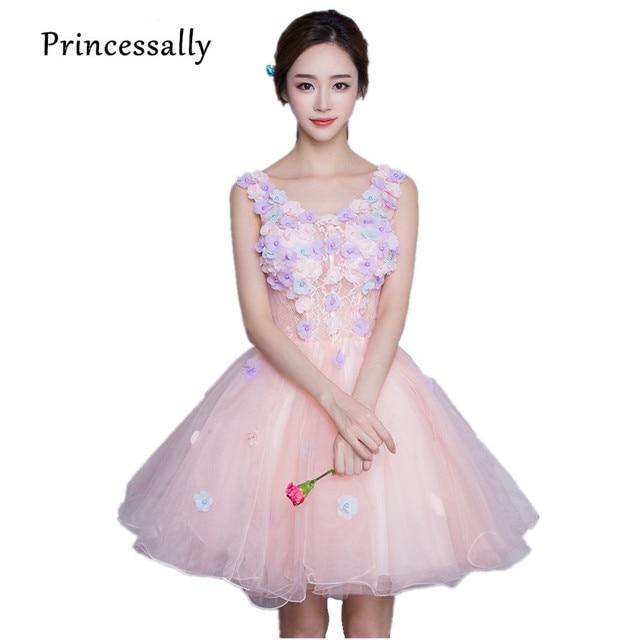 37b39e20f6 Różowy sukienki koktajlowe 2017 V neck aplikacje kwiat Illusion słodkie  balu sukienka sukienka na imprezę kolano