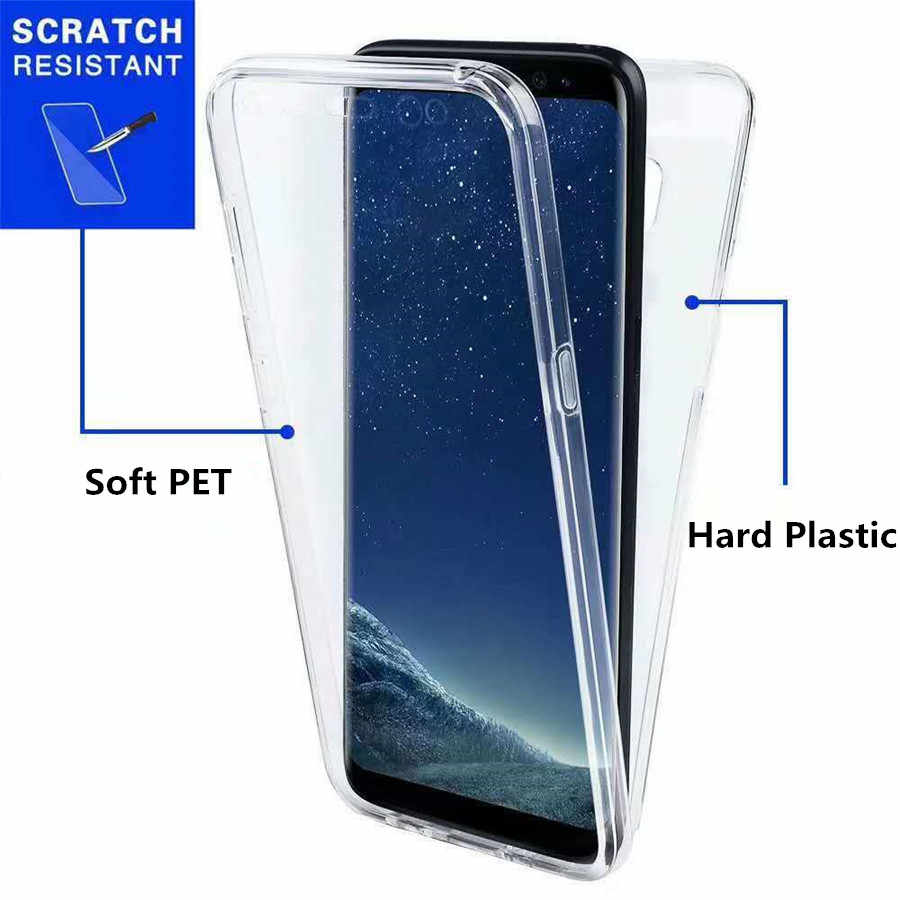 Lüks 360 PET ve PC tam kapak telefon kılıfı için Samsung Galaxy A3 A5 A7 2017 A6 A8 artı A7 a9 2018 kılıfları kapak yumuşak silikon çerçeve