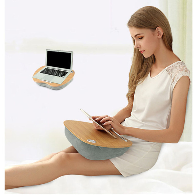 Laptop Table Multifunction Knee Lap Desk for 14 inch Computer Phone Flip Portable Outdoor Headrest Office Home Nap Pillow