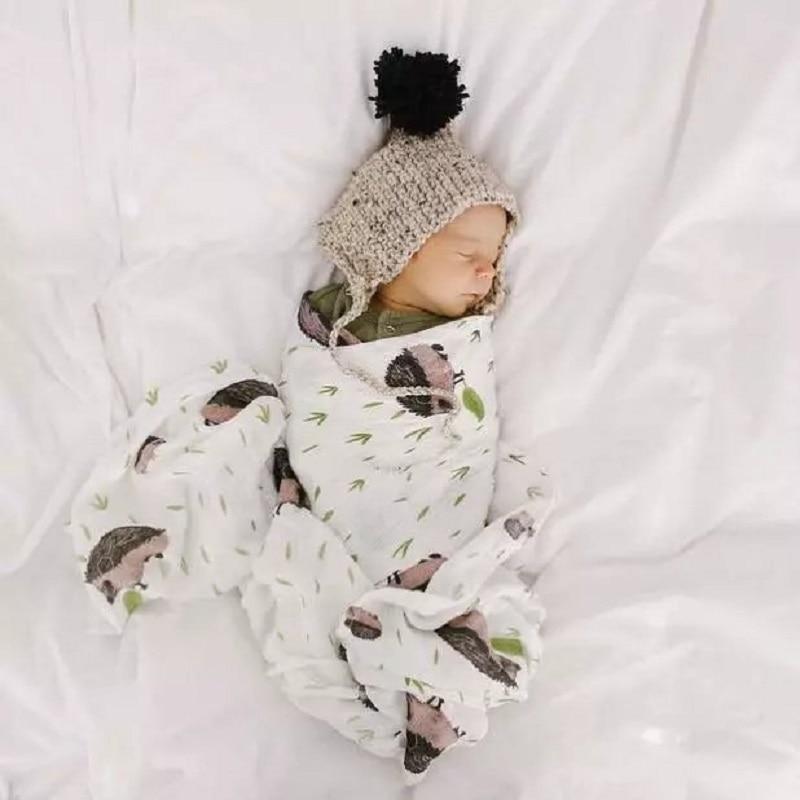 100 algodao bonito impresso cobertor para bebe recem nascido swaddle envoltorio comfy musselina fibra de algodao