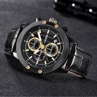 Fashion Luxury Brand CADISEN Watches Men Stainless Steel Mesh Band Quartz Sport Watch Chronograph Men's Wrist Watches Clock Men Quartz Watches