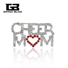 Hot ! Lastest Fashion Crystal Brooch CHEER MOM Pin with a Red Heart FREE SHIPPING