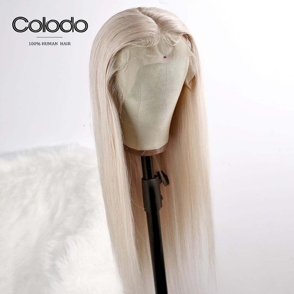 COLODO 13x4 Blonde Lace Front Wig Pre Plucked with Baby Hair Brazilian Remy Straight Lace Front