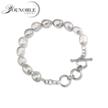 925 Sterling Silver Bracelet For Women,Real GrayNatural Baroque Pearl Bracelet Girlfriend Trendy Gift