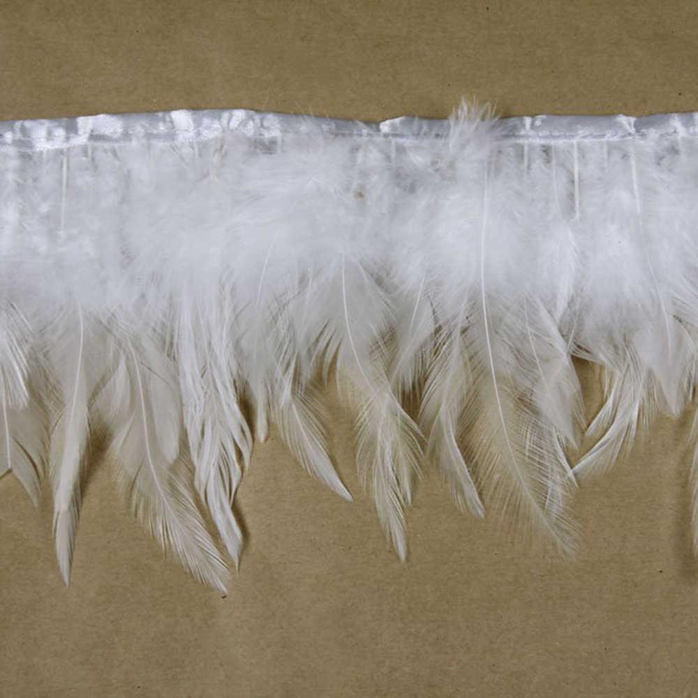 Livraison gratuite 50 cm/lot blanc couleur plumes de poulet garniture frange ruban plume Plumages coq queue plume pour bricolage décoration