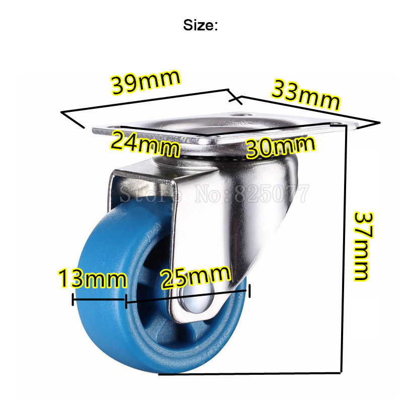 Small lightweight casters size 1inch 25mm PA nylon super mute wheels bear 20kg pcs for bookcase drawer flower racks JF1569 in Casters from Home Improvement