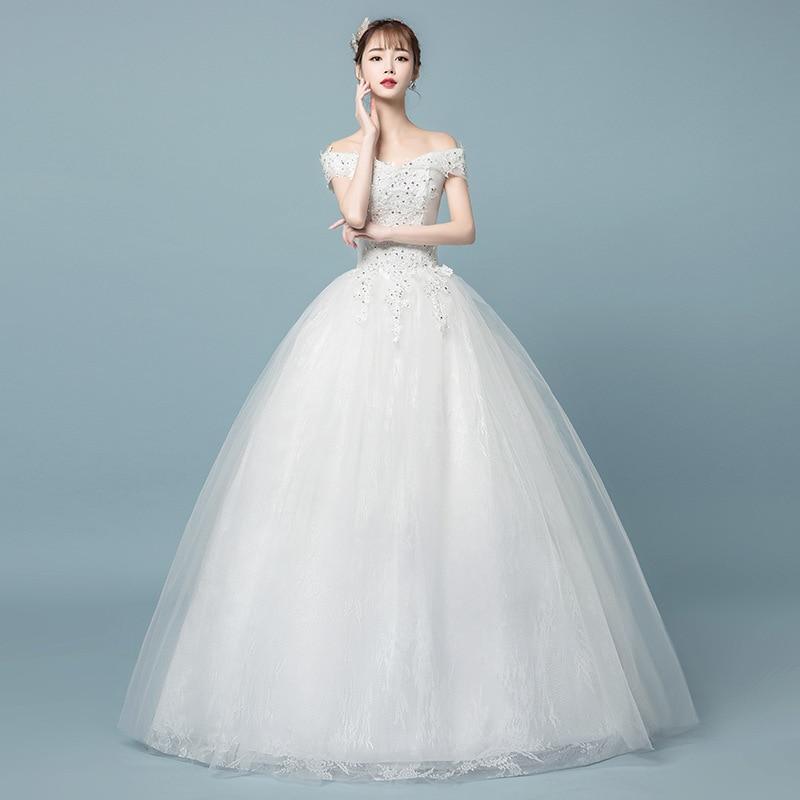 Appliques Sequin Wedding Dresses 2020 V Neck Ball Gown Elegant Off The Shoulder Bridal Gowns Vestido De Noiva Estilo Princesa